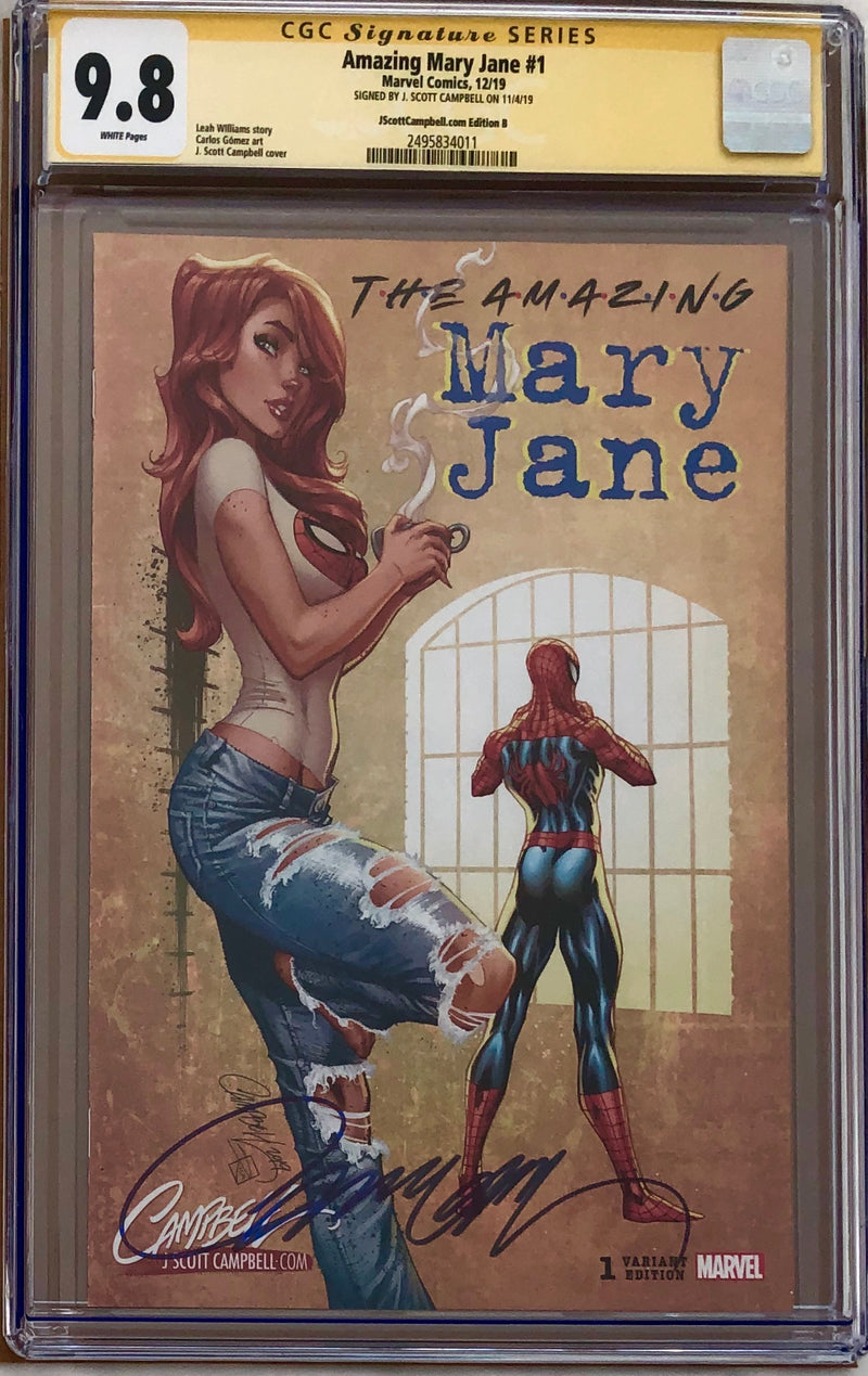 "Amazing Mary Jane #1 J. Scott Campbell Exclusive B - ""90s - 2000s- Coffee n' Jeans"" CGC 9.8 SS"
