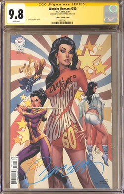 Wonder Woman #750 J. Scott Campbell 1960s Variant CGC 9.8 SS