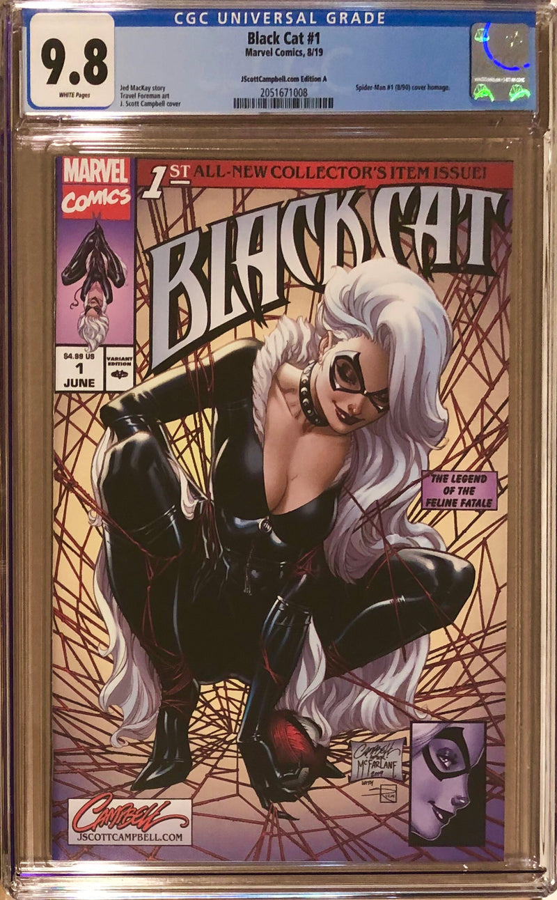 "Black Cat #1 J. Scott Campbell Exclusive A - ""McFarlane Homage"" CGC 9.8"