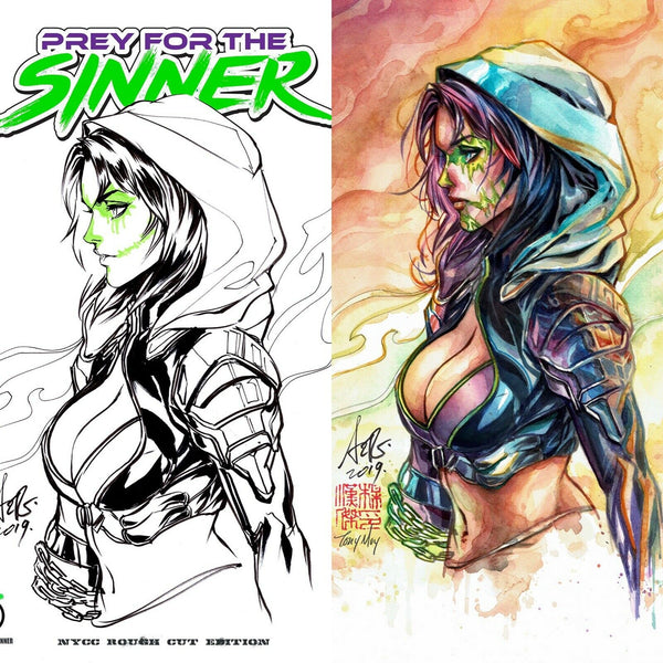 Prey for the Sinner #1 Artgerm NYCC Virgin/Rough Cut Exclusive Set - Matching Low Numbers