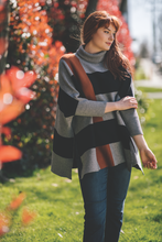 knit colour block poncho