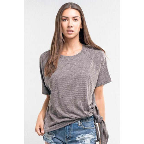 Super soft jersey stripe tee with side knot
