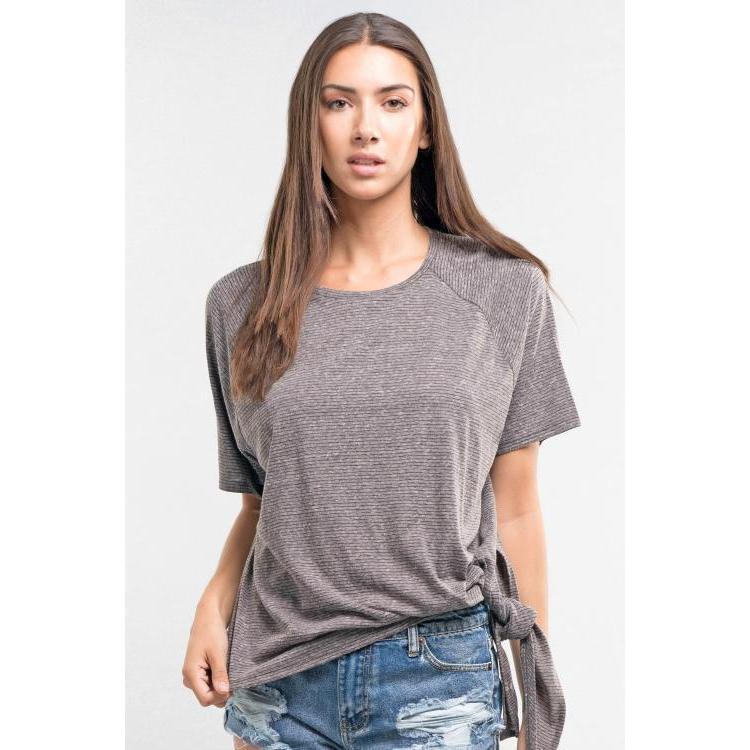 LS Jersey Stripe Tee w/ Side knot- Charcoal-Harlow Crestwood