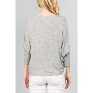 NL 3/4 Dolman Sleeve Tie Front V-Neck Top (2 Colours)-Harlow Crestwood