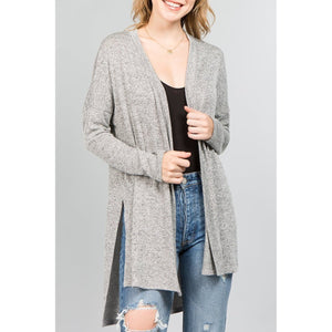 natural life long sleeve cardigan with side slit