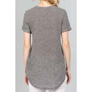 NL Roll Sleeve V Neck Boyfriend Tee (2 Colours)-Harlow Crestwood