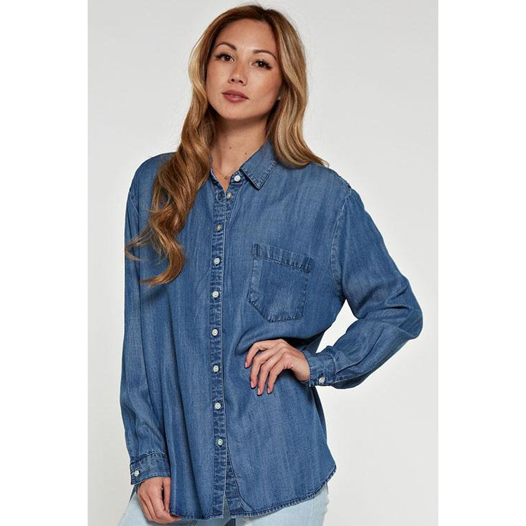 LS Button Down Tencel Top - Harlow Crestwood