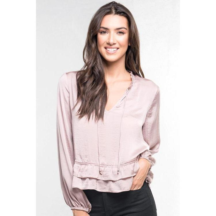 LS Washed satin Blouse-Harlow Crestwood