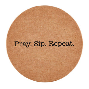 Inspirational Christian Coasters: Pray-Sip-Repeat