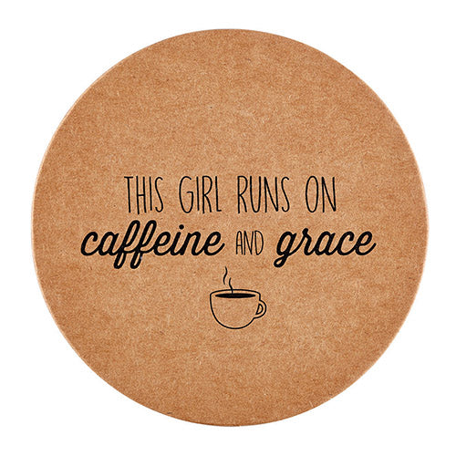 Inspirational Christian Coasters: This Girl Runs On Caffeine and Grace