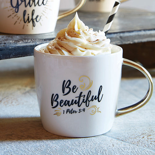 Inspirational Mug - Be Beautiful Ceramic Mug - 1 Peter 3:4