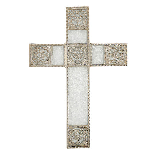 Wall Cross - Decorative Silver Colored Wall Cross - Home Decor