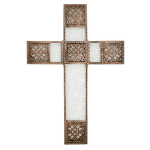Wall Cross - Decorative Bronze Colored Wall Cross - Home Decor