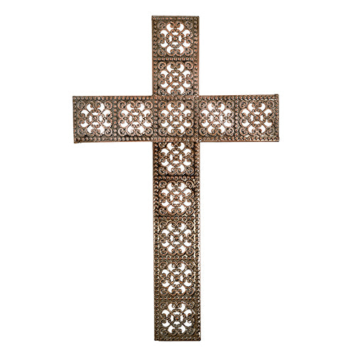 Wall Cross - Large Decorative Bronze Colored Wall Cross - Home Decor