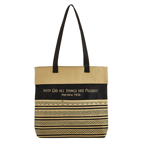 Inspirational Tote Bag: With God All Things Are Possible - Matthew 19:26
