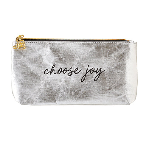 Accessories: Ladies Hand Pouch Purse - Choose Joy - Silver