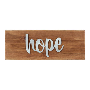 "Wall Decor or Tabletop Decor: ""Hope"" Wood and Metal Plaque"