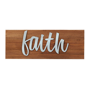 "Wall Decor or Tabletop Decor: ""Faith"" Wood and Metal Plaque"