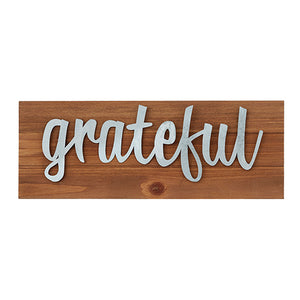 "Wall Decor or Tabletop Decor: ""Grateful"" Wood and Metal Plaque"