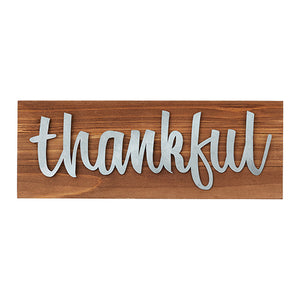 "Wall Decor or Tabletop Decor: ""Thankful"" Wood and Metal Plaque"