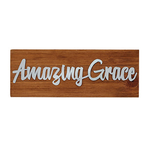 "Wall Decor or Tabletop Decor: ""Amazing Grace"" Wood and Metal Plaque"