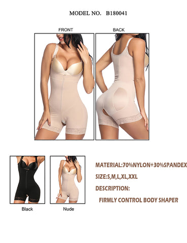 Plain Boyleg Full Body Shaper  Adjustable Straps Firm Control