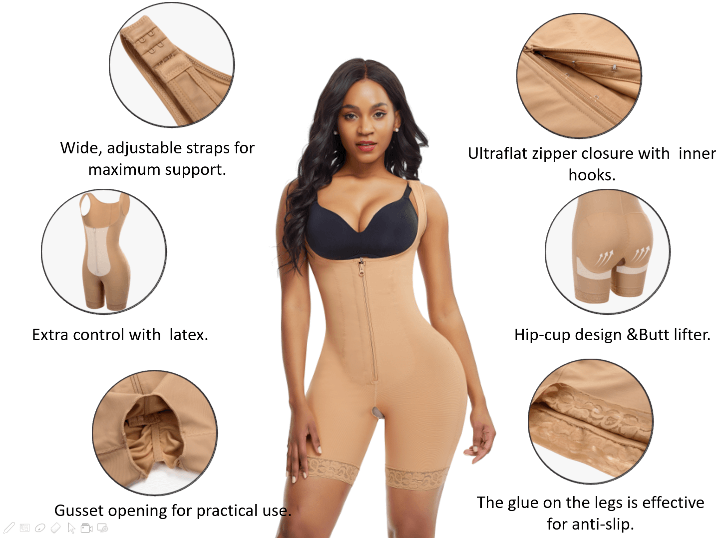 Loverbeauty Bodysuit Shaper With Hook-and-Eye Zipper Closure