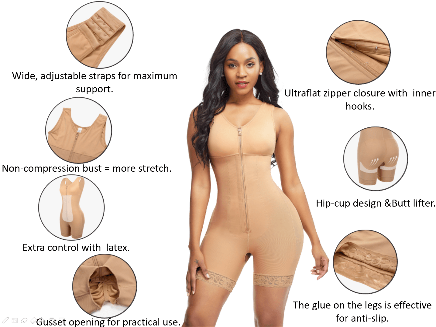 Loverbeauty Full Bodysuit Zippered Slimming Shaper