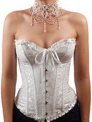 Loverbeauty Lace Up Gothic Waist Training Corset Strapless Bustier Corset - loverbeauty