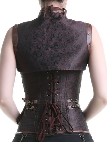 Loverbeauty Gothic Corset Stylish Brocade Vintage Steampunk Corset