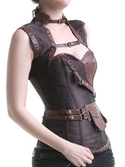 Loverbeauty Gothic Corset Stylish Brocade Vintage Steampunk Corset - loverbeauty