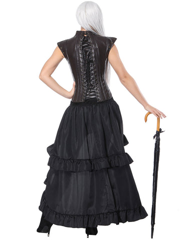 Loverbeauty Vintage Steampunk Corset With Black Midi Skirt