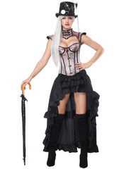 16 Plastic Bones Corset Skirts Set Flower - loverbeauty