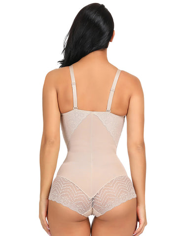 Adjustable Straps Slimming V-neck Vintage Bodysuit Sexy Lace Stretch Mesh Modeling Shapewear