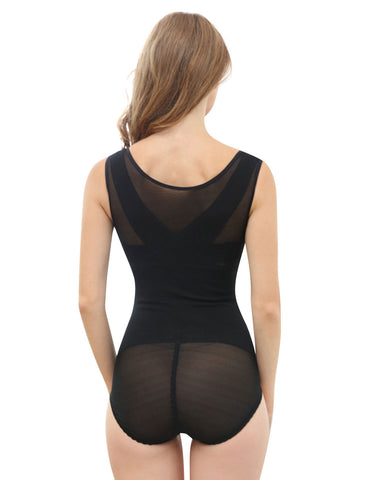 Zip Cross Back Seamless Control Body Shaper Large Size