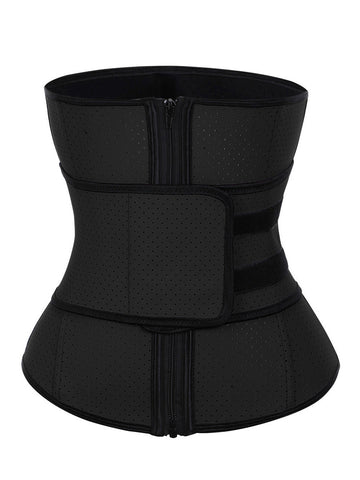Loverbeauty Latex Zipper Punching Waist Trainer | Workout Waist Training Corset