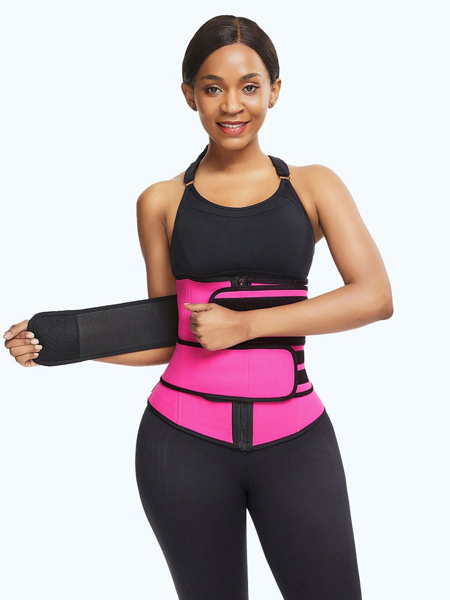 Neoprene Zipper Waist Trainer with Double Control Belts