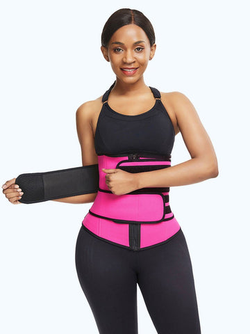 Loverbeauty Neoprene Zipper Waist Trainer with Double Control Belts