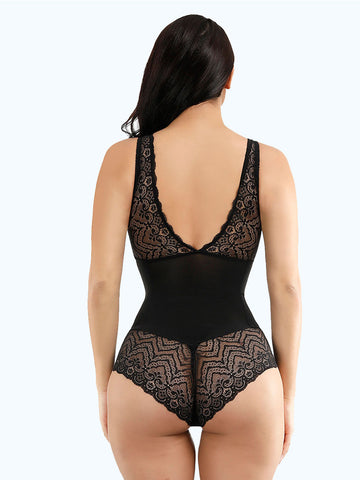 Loverbeauty Slim Elastic Black Lace Patchwork Bodysuit