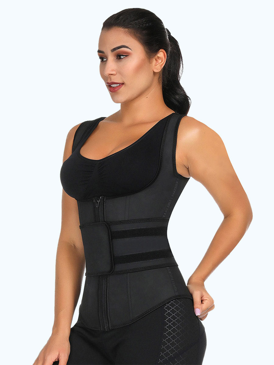 Black Plus Size 9 Steel Bones Latex Vest Shaper
