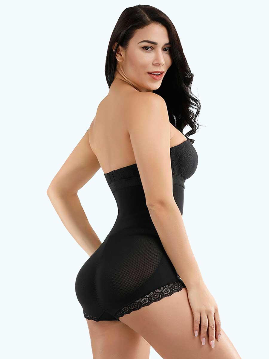Loverbeauty Hook Front Mesh Hiphugger Bodysuit Shapewear