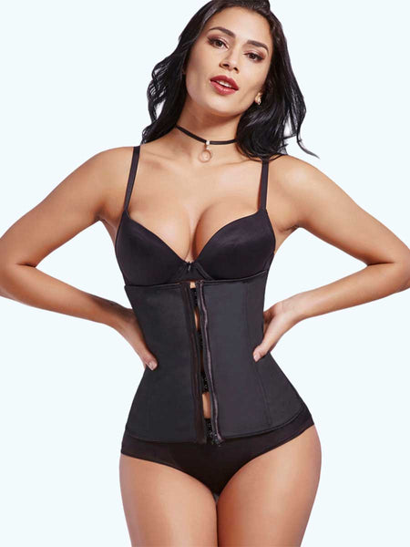 Loverbeauty Plus Size 7 Steel Bones Zipper Latex Waist Cincher - loverbeauty