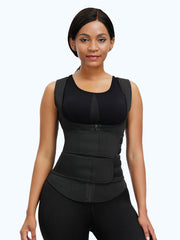 Loverbeauty Plus Size Neoprene Double Belts Sticker Vest Shaper - loverbeauty