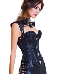 Vintage Lace-Up Metal Clasps Front Corset 16 Plastic Bones High Quality - loverbeauty
