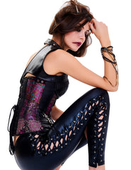 Steampunk Halter Buckles One-shoulder Burlesque Overbust Corset - loverbeauty