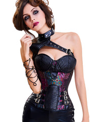Romance Faux Leather Two Piece Corset Metal Buckle Chains Ultra Hot - loverbeauty