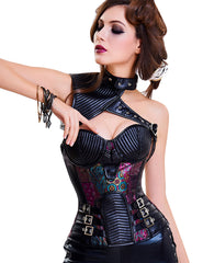 Purple Steampunk Faux Leather Corset Bustier Overbust Loverbeauty