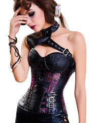 Halloween Party Steampunk Corsets Halter Buckles One Shoulder Loverbeauty