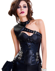 Black Steampunk Leather Look Overbust Corset Steel Bone Loverbeauty