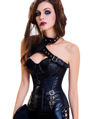Steampunk Halter Buckles One-shoulder Overbust Corset - loverbeauty